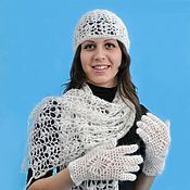 Аксессуары handmade. Livemaster - original item 79-a set of knitted accessories, scarf, hat, gloves. Handmade.