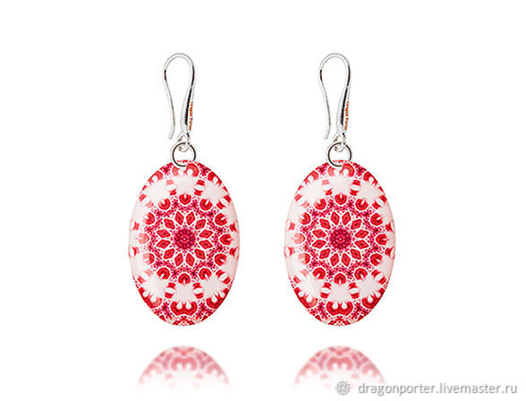 Pink and white earrings womens gift 'Summer romance', Earrings, Moscow,  Фото №1