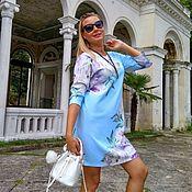 Одежда ручной работы. Ярмарка Мастеров - ручная работа Платье Пионы на голубом. Handmade.