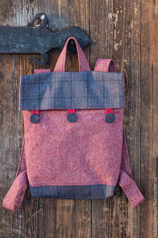 Рюкзаки ручной работы. Ярмарка Мастеров - ручная работа. Купить Шерстяной рюкзак красно-серый. Handmade. Коралловый, натуральные материалы