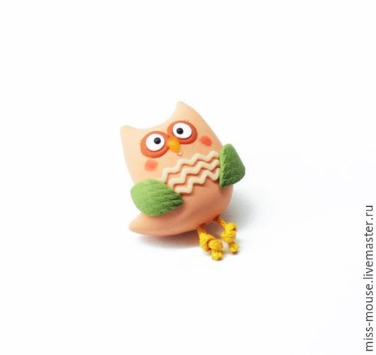 """Броши ручной работы. Ярмарка Мастеров - ручная работа. Купить Брошь """"Персиковый совёнок"""". Handmade. Сова, детская брошь, нежный"""
