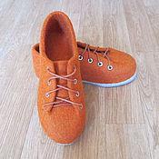Обувь ручной работы. Ярмарка Мастеров - ручная работа Войлочные туфли Оранжевое солнце. Handmade.