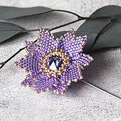 Украшения handmade. Livemaster - original item Purple Lotus brooch with Swarovski crystal. Handmade.