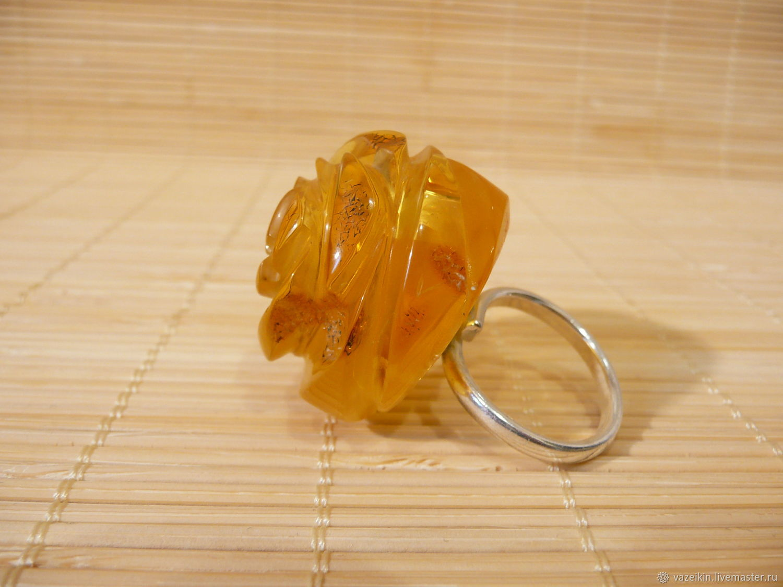 "Кольцо из янтаря ""Роза"" Р-120, Кольца, Светлогорск,  Фото №1"