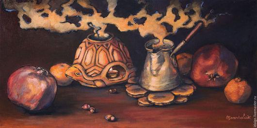 """Натюрморт ручной работы. Ярмарка Мастеров - ручная работа. Купить """"Уютный вечер"""" картина маслом на холсте. Handmade. Натюрморт, гранат"""
