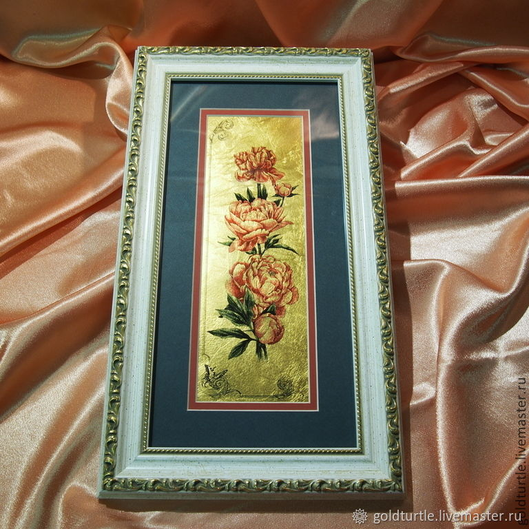 Картина на сусальном золоте Пион, Картины, Москва,  Фото №1