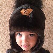 Одежда детская handmade. Livemaster - original item Mouton hat dark brown with a pompom. Handmade.