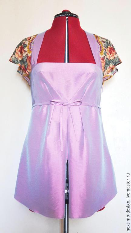 Авторская блузка ручной работы. Элегантная блуза-туника оригинального покроя подчеркнет Вашу романтичную женственность и желание отличаться от толпы.