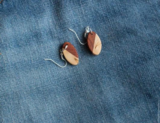 Серьги ручной работы. Ярмарка Мастеров - ручная работа. Купить Серьги из двух экзотических пород дерева. Handmade. Коричневый, сережки
