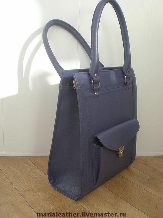 Женские сумки ручной работы. Ярмарка Мастеров - ручная работа. Купить Фиолетовая деловая сумка. Handmade. Кожаная сумка