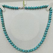 Работы для детей, handmade. Livemaster - original item Turquoise beads with silver clasp. Handmade.