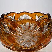 Винтаж handmade. Livemaster - original item Bowl - boat bowl yellow amber colored glass 1920-1940. Handmade.