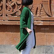 Одежда handmade. Livemaster - original item Long green cardigan with 3/4 sleeve. Handmade.