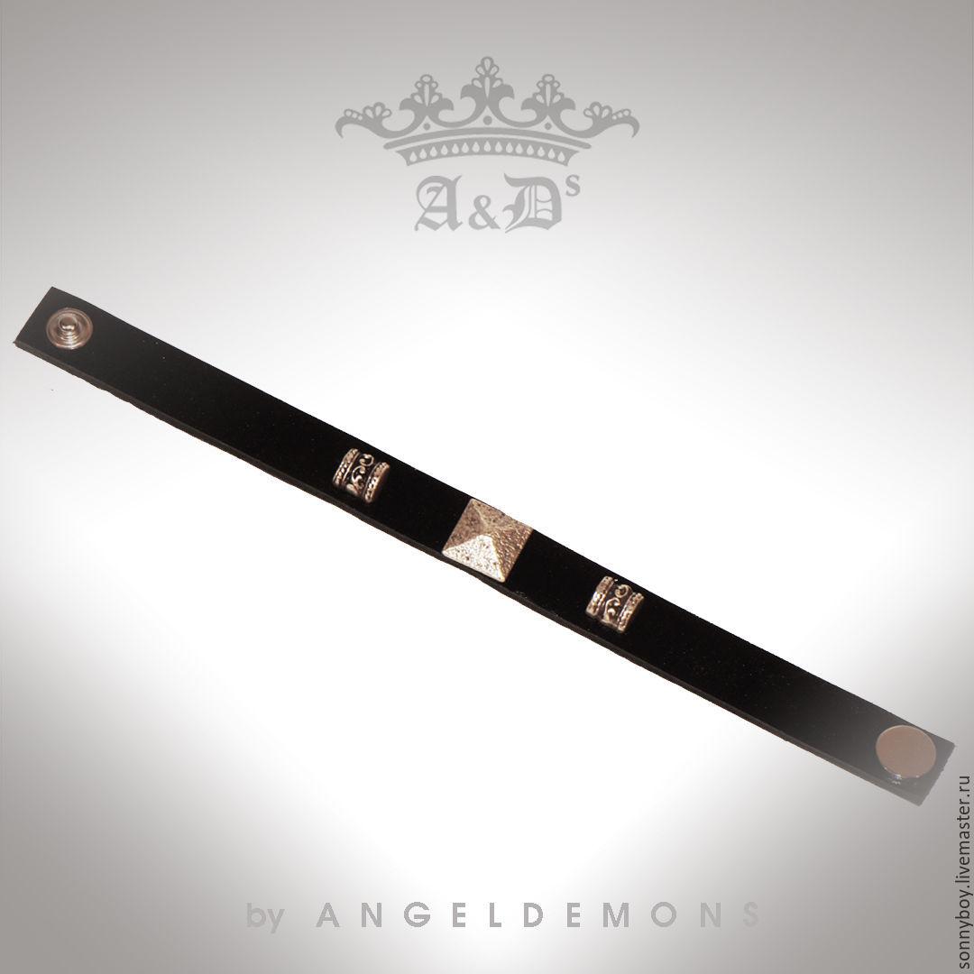 Браслет из кожи - Bracelet Black Piramid II