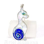 Украшения handmade. Livemaster - original item Cat PENDANT with lapis lazuli tail. Pendant with mother of pearl and lapis. Handmade.