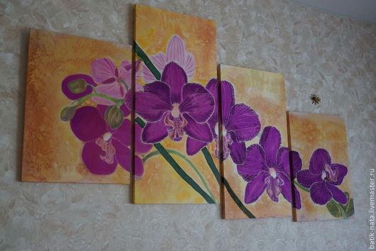 Элементы интерьера ручной работы. Ярмарка Мастеров - ручная работа. Купить орхидеи. Handmade. Картины и панно, батик цветы