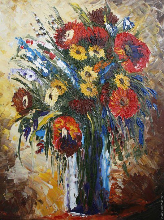"""Картины цветов ручной работы. Ярмарка Мастеров - ручная работа. Купить Картина """"Теплый букет"""". Handmade. Картина для интерьера, цветы"""