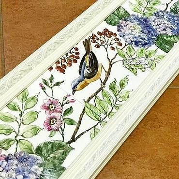 Diseño y publicidad manualidades. Livemaster - hecho a mano Painted tile Murals Hydrangea and bird. Handmade.