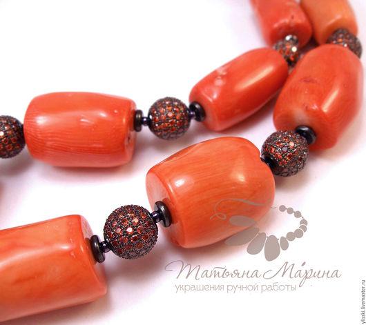 Колье, бусы ручной работы. Ярмарка Мастеров - ручная работа. Купить Бусы Оранжевый блеск, с кораллами (серьги при желании). Handmade.