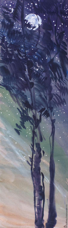 Пейзаж ручной работы. Ярмарка Мастеров - ручная работа. Купить Картина акварель На фоне звезд. Handmade. Ночь