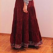 Одежда ручной работы. Ярмарка Мастеров - ручная работа Юбка теплая длинная вельветовая Бордо. Handmade.