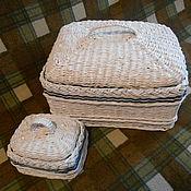 Для дома и интерьера handmade. Livemaster - original item Wicker boxes in a marine style. Handmade.