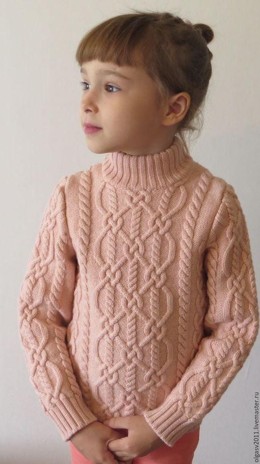 """Одежда для девочек, ручной работы. Ярмарка Мастеров - ручная работа. Купить Мериносовый свитер для девочки """"Араны"""". Handmade. Бледно-розовый"""