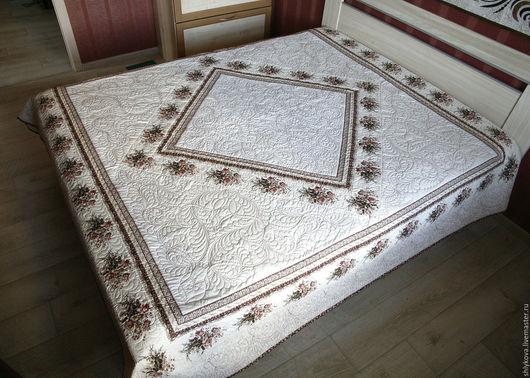 """Текстиль, ковры ручной работы. Ярмарка Мастеров - ручная работа. Купить покрывало """"Облака из роз"""". Handmade. Белый, для кровати"""