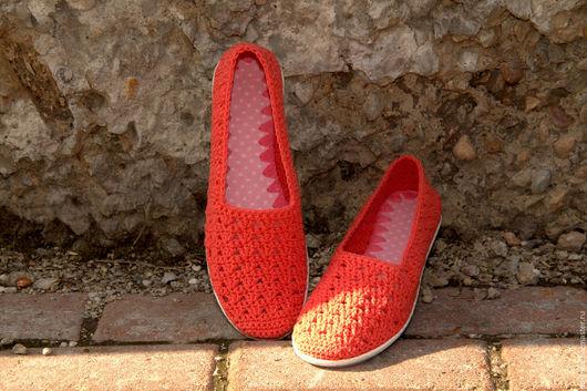 """Обувь ручной работы. Ярмарка Мастеров - ручная работа. Купить Летние балетки-слиперсы STEPPER'S """"Коралловые"""". Handmade. Коралловый, мокасины"""