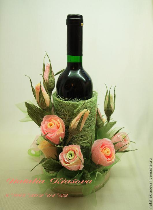 """Букеты ручной работы. Ярмарка Мастеров - ручная работа. Купить Оформление бутылки вина """"Весенняя нежность"""". Handmade. Бледно-розовый"""