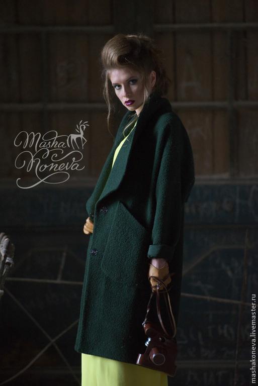 Верхняя одежда ручной работы. Ярмарка Мастеров - ручная работа. Купить Уютное пальто оверсайз из буклированной шерсти. Handmade. модное