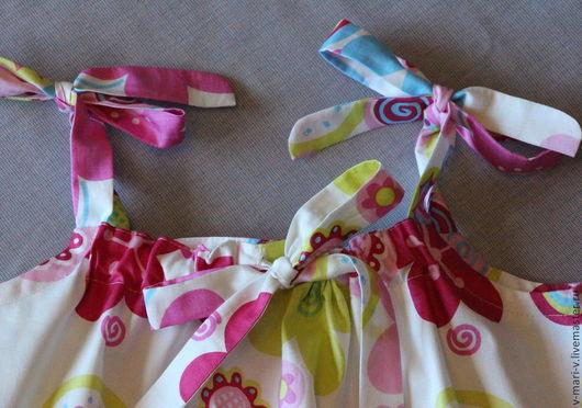 Одежда для девочек, ручной работы. Ярмарка Мастеров - ручная работа. Купить Сарафан для девочки Цветочек платье летнее. Handmade. Разноцветный