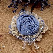 Brooches handmade. Livemaster - original item Brooch fabric flower textile brooch in shades of blue brooch boho. Handmade.