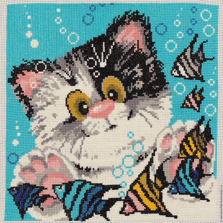 Вышивка кошка на подушке схема