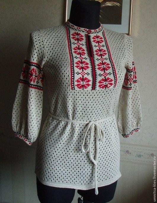 Фото. Вязаная блуза. Вязаная вышиванка из льна.