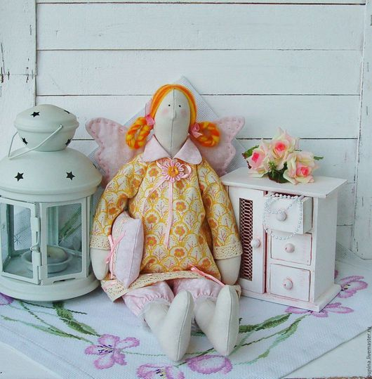 Куклы Тильды ручной работы. Ярмарка Мастеров - ручная работа. Купить Ангел снов с одеялом Сплюшка. Handmade. Оранжевый