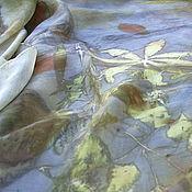 """Аксессуары ручной работы. Ярмарка Мастеров - ручная работа Шелковый платок """"Глубина"""", эко принт. Handmade."""