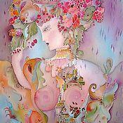 """Картины и панно ручной работы. Ярмарка Мастеров - ручная работа Картина на атласе """"Незнакомка"""". Handmade."""