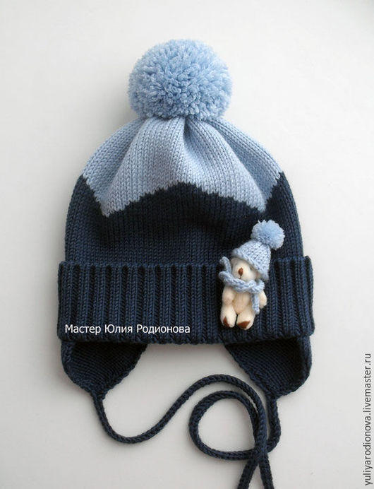 Шапки и шарфы ручной работы. Ярмарка Мастеров - ручная работа. Купить Мериносовая шапочка для малыша. Handmade. Тёмно-синий, в полоску