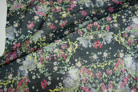 Шитье ручной работы. Ярмарка Мастеров - ручная работа. Купить Ткань Батист цветы на черном 11111519 Германия Цена за метр. Handmade.