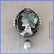 Украшения handmade. Livemaster - original item Brooch-pendant cameo on black background. Handmade.
