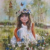 """Картины и панно ручной работы. Ярмарка Мастеров - ручная работа Детский портрет по фото """"Девочка на поляне"""". Handmade."""