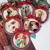 Подарки к праздникам handmade. Livemaster - original item New year medallions in decoupage technique. Vintage postcard. Handmade.