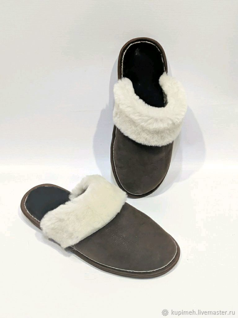 Men's Slippers made of natural fur, leather and suede, Slippers, Nalchik,  Фото №1