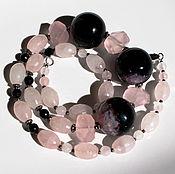 Украшения ручной работы. Ярмарка Мастеров - ручная работа Крупные  бусы с розовым кварцем и чёрным агатом натуральными камнями. Handmade.