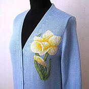 Одежда ручной работы. Ярмарка Мастеров - ручная работа Кофта с вышивкой. Нарцисс. Handmade.