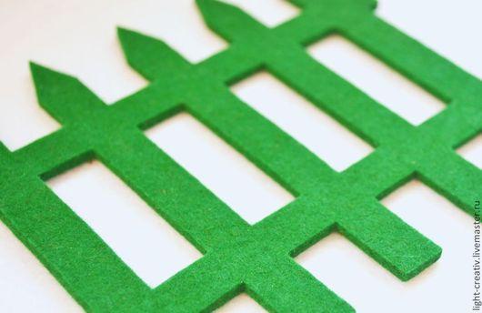 """Валяние ручной работы. Ярмарка Мастеров - ручная работа. Купить Вырубка из фетра ч/ш 3 мм """"Забор"""". Handmade. Зеленый"""