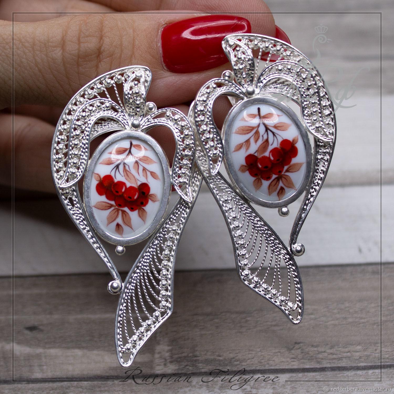 Earrings 'Rowan' finish, silver 999, Earrings, Kostroma,  Фото №1