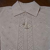 Одежда ручной работы. Ярмарка Мастеров - ручная работа Мужская сорочка, Белым по белому, ручная вышивка. Handmade.