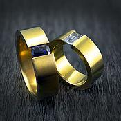 handmade. Livemaster - original item Titanium rings yellow with aquamarine and sapphire. Handmade.